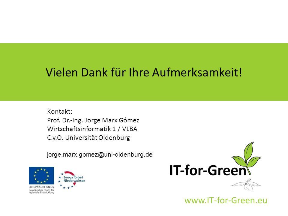 www.IT-for-Green.eu Vielen Dank für Ihre Aufmerksamkeit! Kontakt: Prof. Dr.-Ing. Jorge Marx Gómez Wirtschaftsinformatik 1 / VLBA C.v.O. Universität Ol