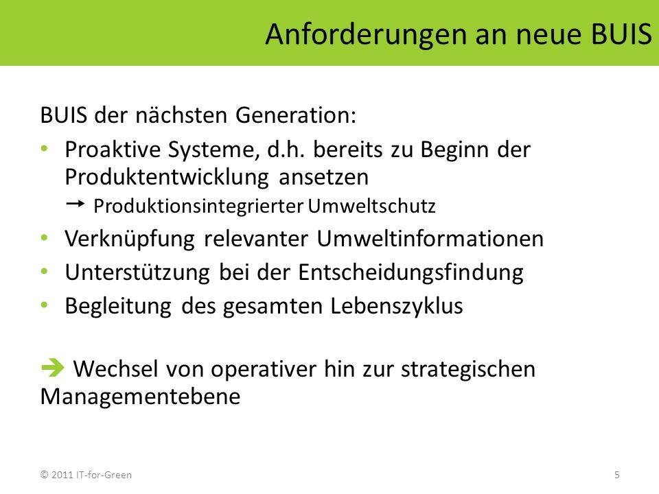 © 2011 IT-for-Green5 Anforderungen an neue BUIS BUIS der nächsten Generation: Proaktive Systeme, d.h. bereits zu Beginn der Produktentwicklung ansetze