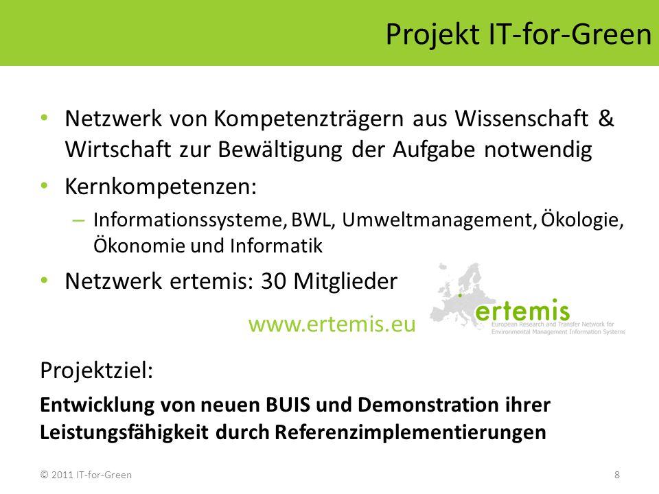 © 2011 IT-for-Green8 Projekt IT-for-Green Netzwerk von Kompetenzträgern aus Wissenschaft & Wirtschaft zur Bewältigung der Aufgabe notwendig Kernkompet