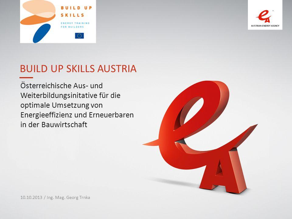 BUILD UP SKILLS AUSTRIA Österreichische Aus- und Weiterbildungsinitative für die optimale Umsetzung von Energieeffizienz und Erneuerbaren in der Bauwirtschaft 10.10.2013 / Ing.