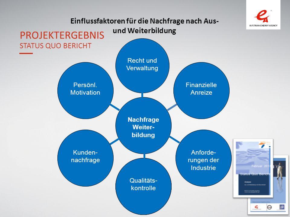 12 Einflussfaktoren für die Nachfrage nach Aus- und Weiterbildung PROJEKTERGEBNIS STATUS QUO BERICHT Qualitäts- kontrolle Nachfrage Weiter- bildung Recht und Verwaltung Qualitäts- kontrolle Finanzielle Anreize Anforde- rungen der Industrie Kunden- nachfrage Persönl.