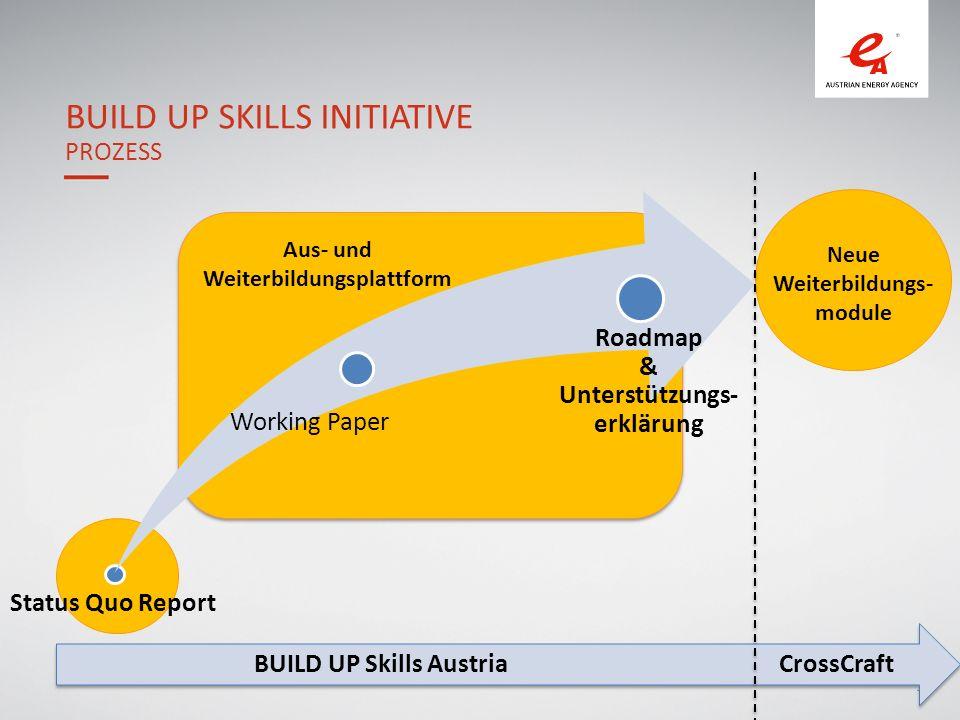 19 BUILD UP SKILLS INITIATIVE PROZESS Status Quo Report Aus- und Weiterbildungsplattform Neue Weiterbildungs- module Working Paper Roadmap & Unterstützungs- erklärung BUILD UP Skills AustriaCrossCraft