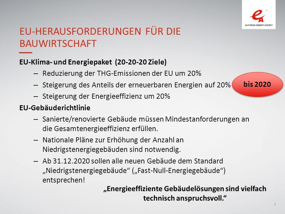2 EU-Klima- und Energiepaket (20-20-20 Ziele) – Reduzierung der THG-Emissionen der EU um 20% – Steigerung des Anteils der erneuerbaren Energien auf 20% – Steigerung der Energieeffizienz um 20% EU-Gebäuderichtlinie – Sanierte/renovierte Gebäude müssen Mindestanforderungen an die Gesamtenergieeffizienz erfüllen.