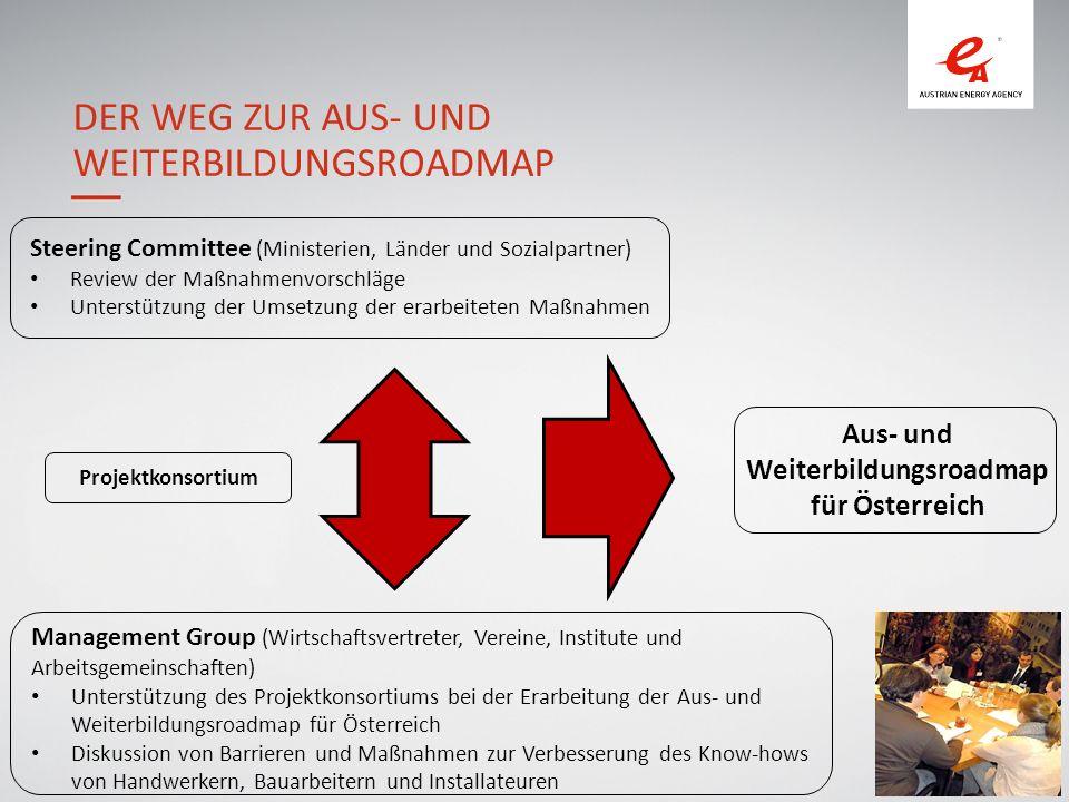 8 DER WEG ZUR AUS- UND WEITERBILDUNGSROADMAP Management Group (Wirtschaftsvertreter, Vereine, Institute und Arbeitsgemeinschaften) Unterstützung des Projektkonsortiums bei der Erarbeitung der Aus- und Weiterbildungsroadmap für Österreich Diskussion von Barrieren und Maßnahmen zur Verbesserung des Know-hows von Handwerkern, Bauarbeitern und Installateuren Steering Committee (Ministerien, Länder und Sozialpartner) Review der Maßnahmenvorschläge Unterstützung der Umsetzung der erarbeiteten Maßnahmen Aus- und Weiterbildungsroadmap für Österreich Projektkonsortium