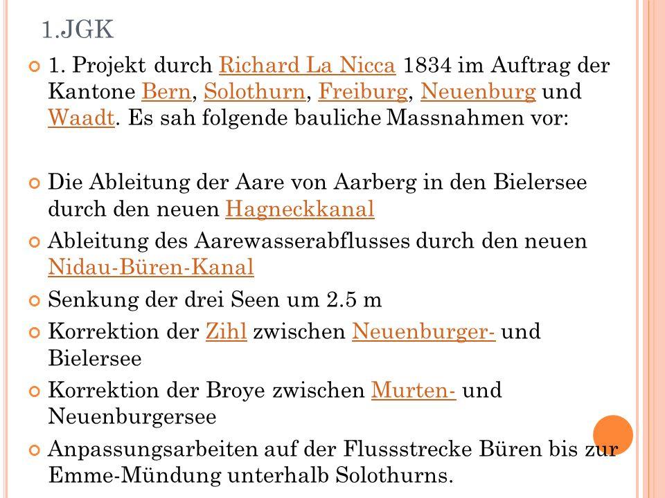 1. Projekt durch Richard La Nicca 1834 im Auftrag der Kantone Bern, Solothurn, Freiburg, Neuenburg und Waadt. Es sah folgende bauliche Massnahmen vor: