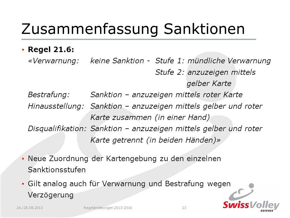 24./25.08.2013Regeländerungen 2013-201623 Zusammenfassung Sanktionen Regel 21.6: «Verwarnung:keine Sanktion - Stufe 1: mündliche Verwarnung Stufe 2: a