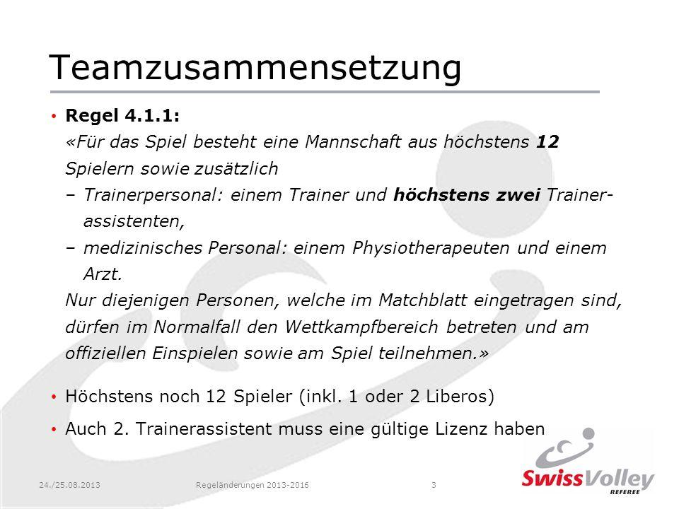 24./25.08.2013Regeländerungen 2013-201634 Benennung eines neuen Liberos Regel 19.4.2.3: «Der Trainer (oder der Spielkapitän, falls kein Trainer anwesend ist) nimmt Kontakt zum 2.