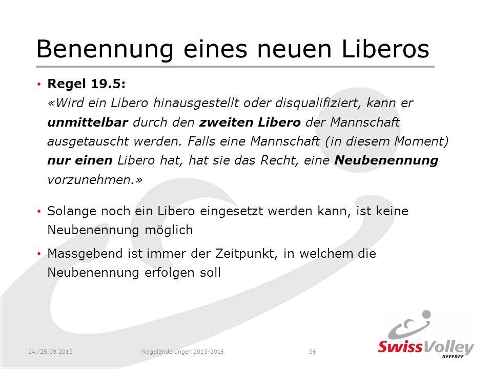 24./25.08.2013Regeländerungen 2013-201636 Benennung eines neuen Liberos Regel 19.5: «Wird ein Libero hinausgestellt oder disqualifiziert, kann er unmi