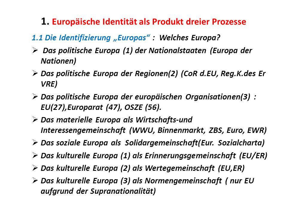 1. Europäische Identität als Produkt dreier Prozesse 1.1 Die Identifizierung Europas : Welches Europa? Das politische Europa (1) der Nationalstaaten (