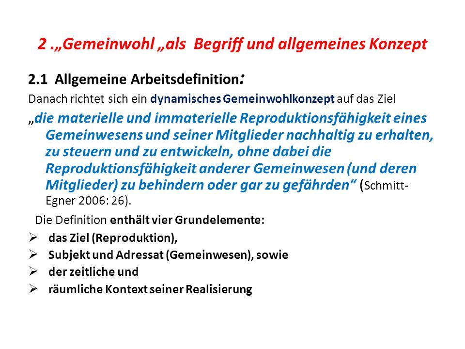 2.Gemeinwohl als Begriff und allgemeines Konzept 2.1 Allgemeine Arbeitsdefinition : Danach richtet sich ein dynamisches Gemeinwohlkonzept auf das Ziel