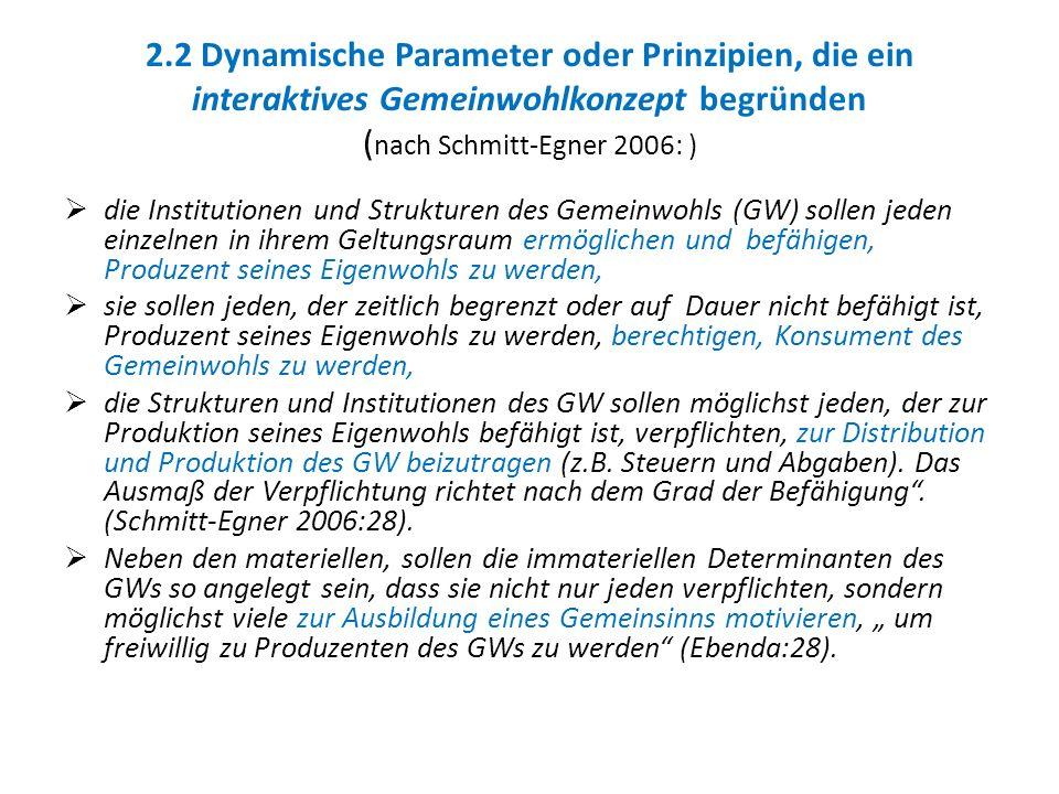 2.2 Dynamische Parameter oder Prinzipien, die ein interaktives Gemeinwohlkonzept begründen ( nach Schmitt-Egner 2006: ) die Institutionen und Struktur