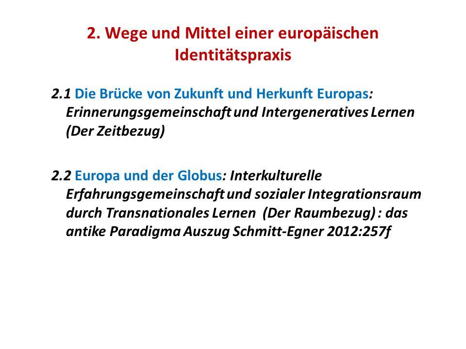 2. Wege und Mittel einer europäischen Identitätspraxis 2.1 Die Brücke von Zukunft und Herkunft Europas: Erinnerungsgemeinschaft und Intergeneratives L
