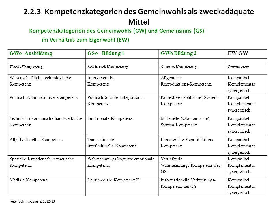 2.2.3 Kompetenzkategorien des Gemeinwohls als zweckadäquate Mittel Kompetenzkategorien des Gemeinwohls (GW) und Gemeinsinns (GS) im Verhältnis zum Eig