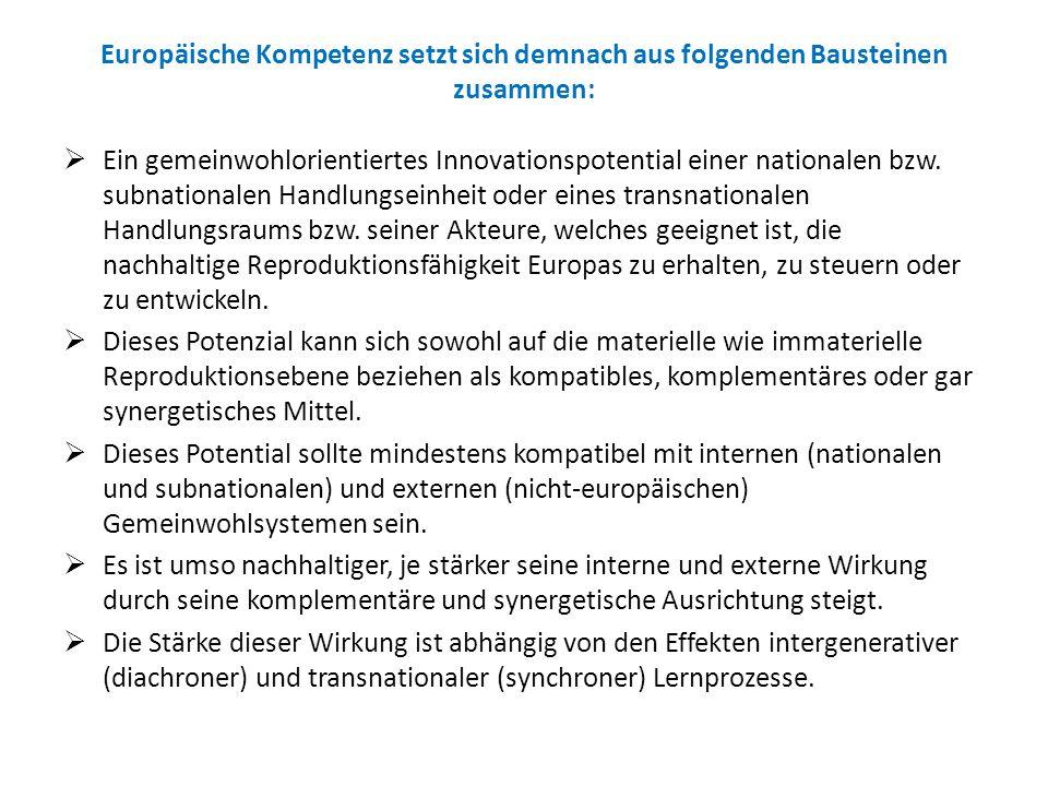 Europäische Kompetenz setzt sich demnach aus folgenden Bausteinen zusammen: Ein gemeinwohlorientiertes Innovationspotential einer nationalen bzw. subn