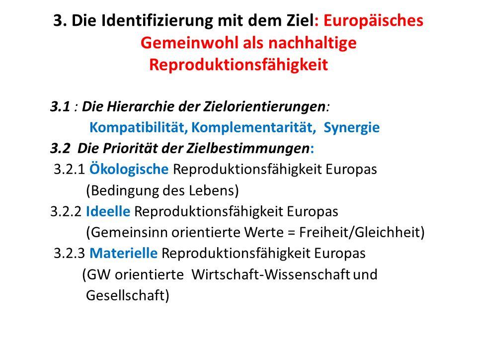 3. Die Identifizierung mit dem Ziel: Europäisches Gemeinwohl als nachhaltige Reproduktionsfähigkeit 3.1 : Die Hierarchie der Zielorientierungen: Kompa