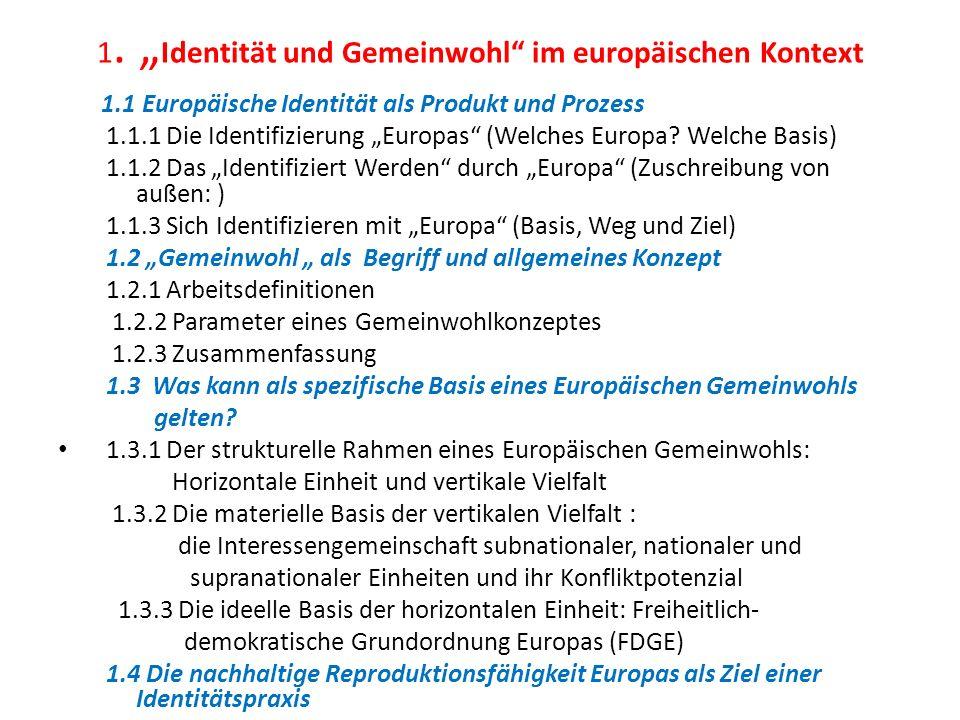 1. Identität und Gemeinwohl im europäischen Kontext 1.1 Europäische Identität als Produkt und Prozess 1.1.1 Die Identifizierung Europas (Welches Europ