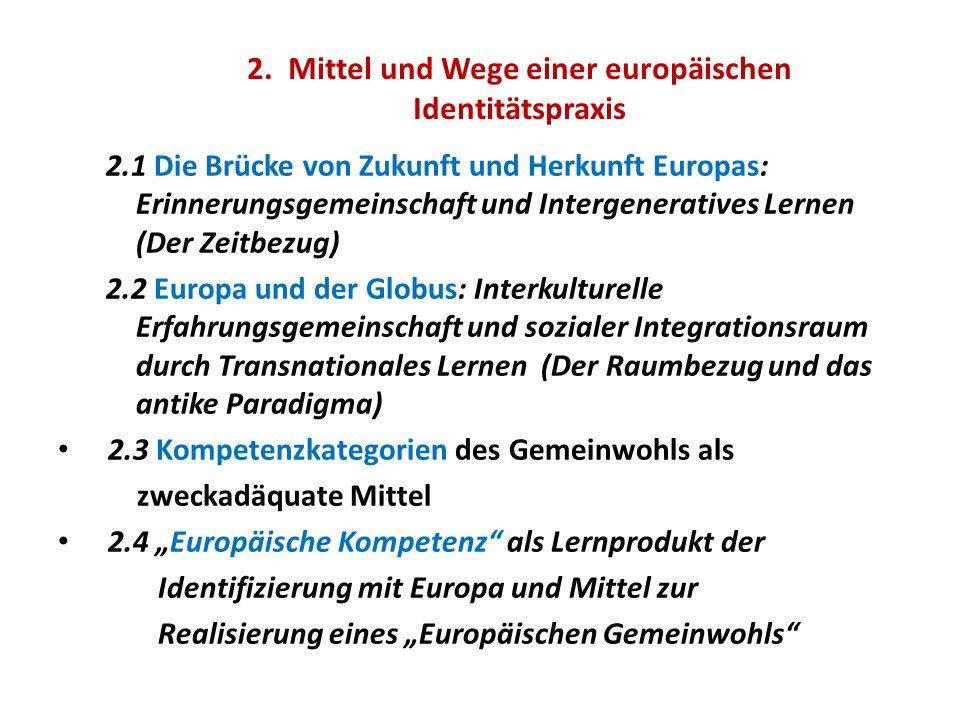 2. Mittel und Wege einer europäischen Identitätspraxis 2.1 Die Brücke von Zukunft und Herkunft Europas: Erinnerungsgemeinschaft und Intergeneratives L