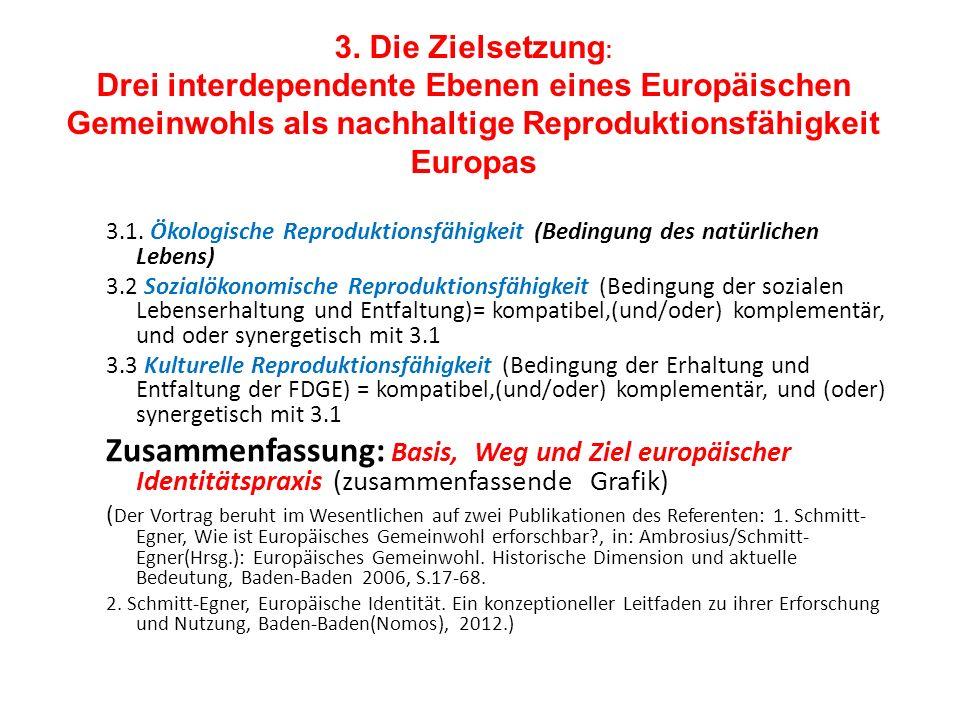 3. Die Zielsetzung : Drei interdependente Ebenen eines Europäischen Gemeinwohls als nachhaltige Reproduktionsfähigkeit Europas 3.1. Ökologische Reprod