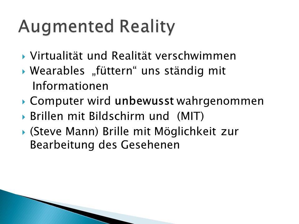 Virtualität und Realität verschwimmen Wearables füttern uns ständig mit Informationen Computer wird unbewusst wahrgenommen Brillen mit Bildschirm und