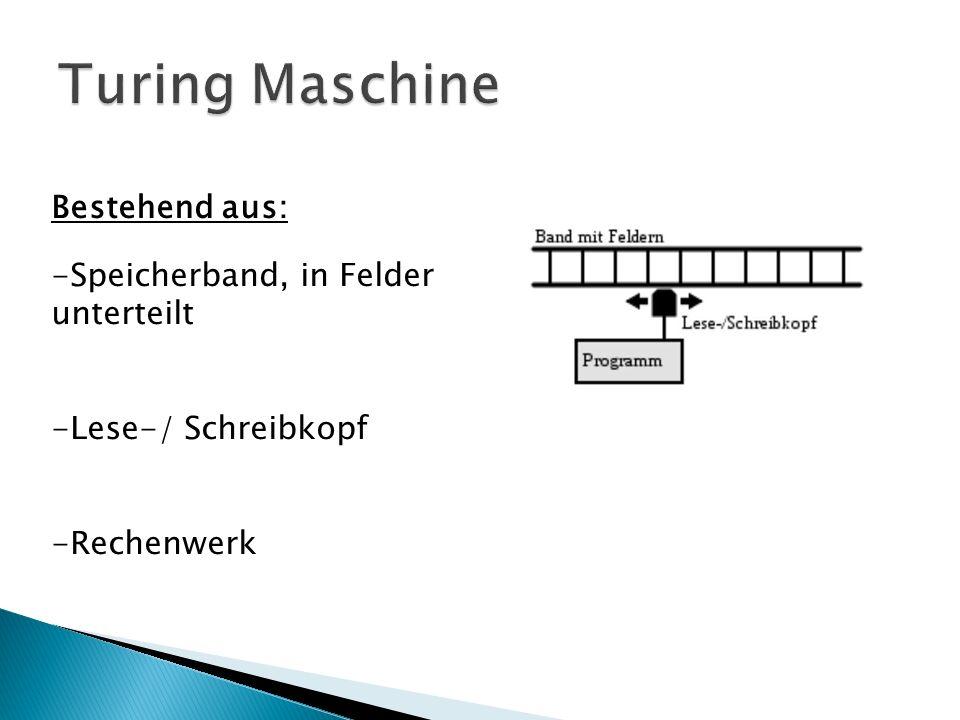 Bestehend aus: -Speicherband, in Felder unterteilt -Lese-/ Schreibkopf -Rechenwerk