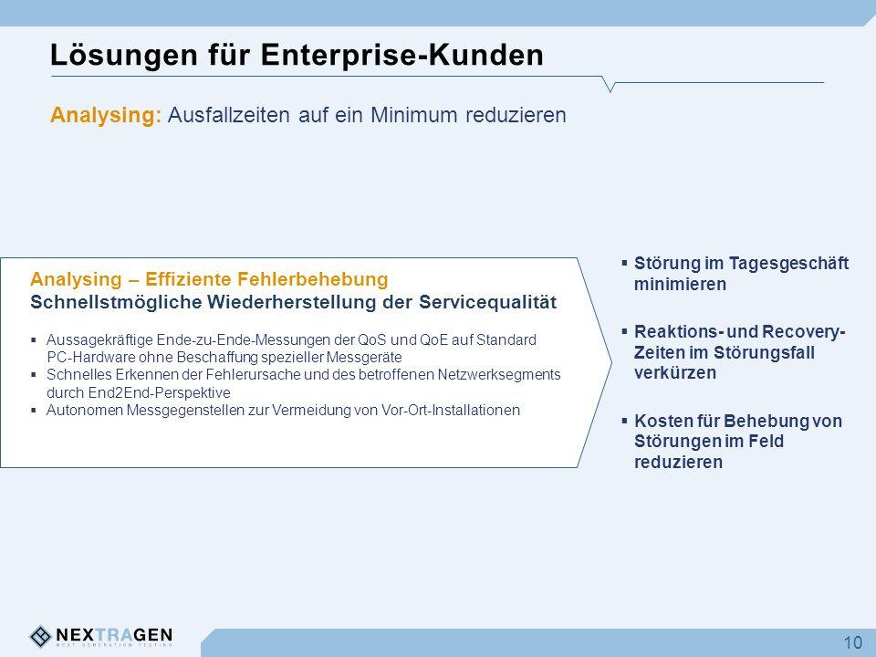 Lösungen für Enterprise-Kunden 10 Analysing – Effiziente Fehlerbehebung Schnellstmögliche Wiederherstellung der Servicequalität Aussagekräftige Ende-z