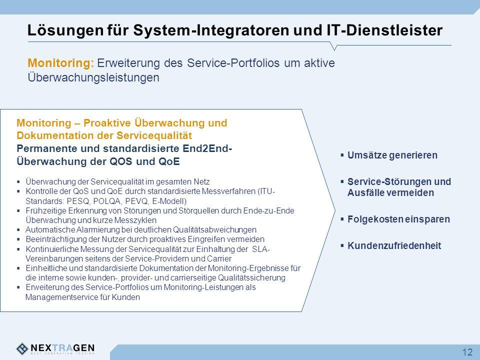 Lösungen für System-Integratoren und IT-Dienstleister 12 Monitoring – Proaktive Überwachung und Dokumentation der Servicequalität Permanente und stand