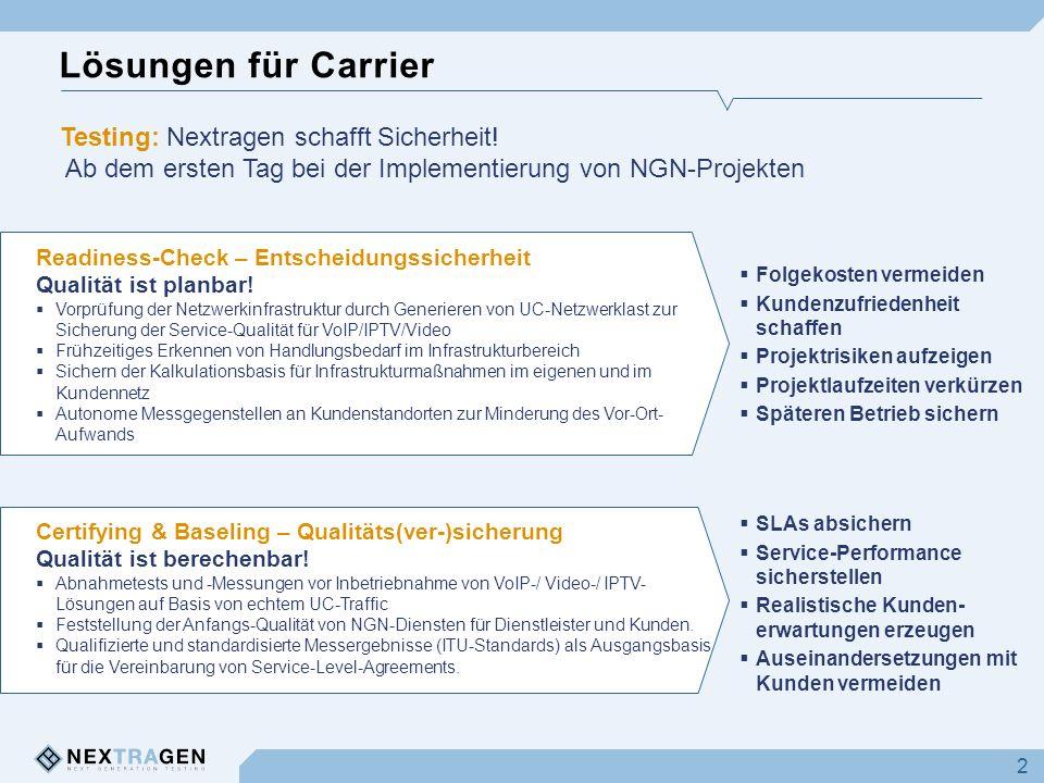 Lösungen für Carrier 2 Testing: Nextragen schafft Sicherheit! Ab dem ersten Tag bei der Implementierung von NGN-Projekten Readiness-Check – Entscheidu