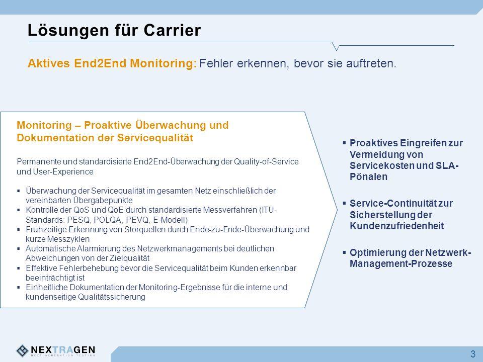 Lösungen für Carrier 3 Monitoring – Proaktive Überwachung und Dokumentation der Servicequalität Permanente und standardisierte End2End-Überwachung der