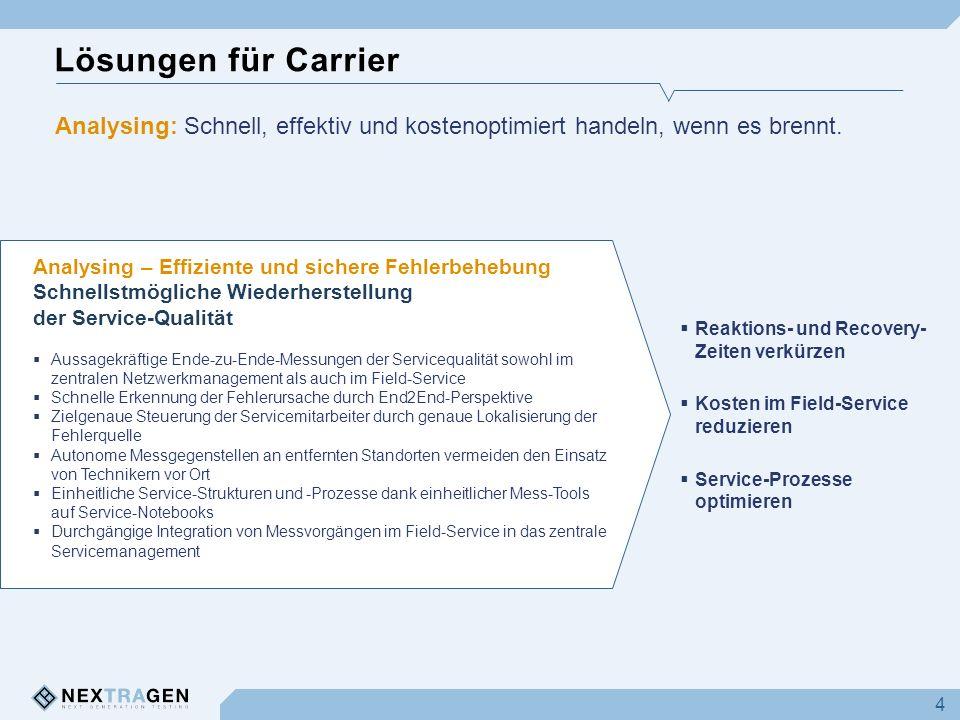 Lösungen für Carrier 4 Analysing – Effiziente und sichere Fehlerbehebung Schnellstmögliche Wiederherstellung der Service-Qualität Aussagekräftige Ende