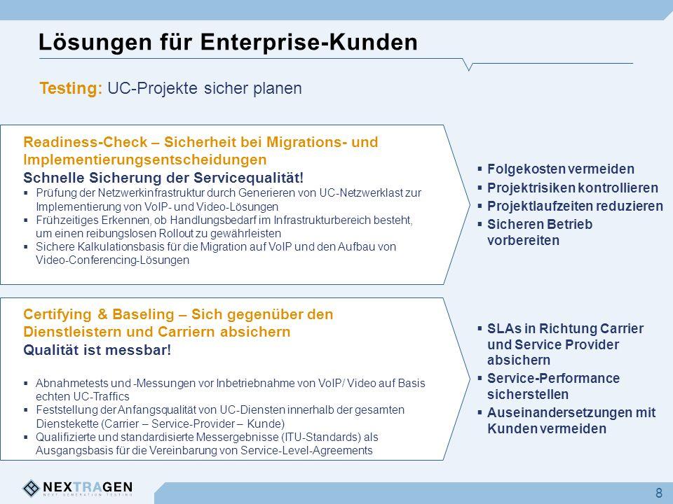 Lösungen für Enterprise-Kunden 8 Testing: UC-Projekte sicher planen Readiness-Check – Sicherheit bei Migrations- und Implementierungsentscheidungen Sc