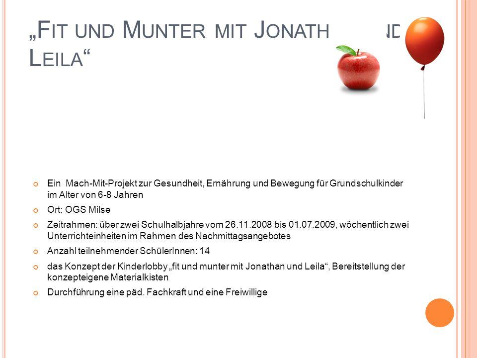 F IT UND M UNTER MIT J ONATHAN UND L EILA Ein Mach-Mit-Projekt zur Gesundheit, Ernährung und Bewegung für Grundschulkinder im Alter von 6-8 Jahren Ort