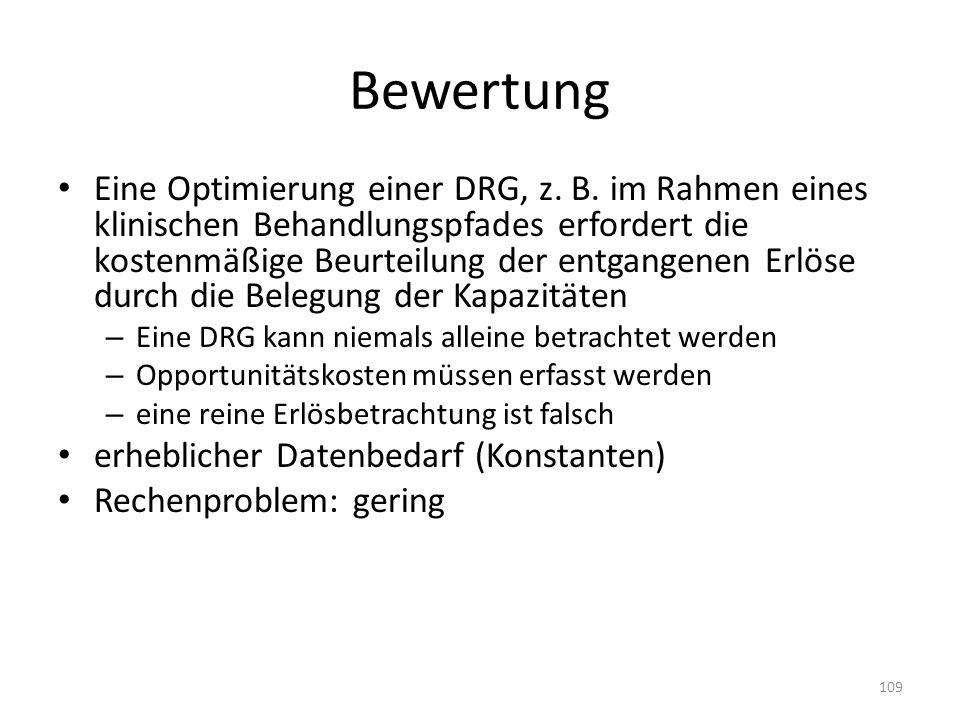 Bewertung Eine Optimierung einer DRG, z.B.