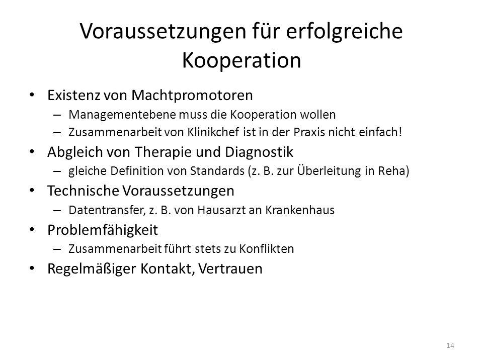 Voraussetzungen für erfolgreiche Kooperation Existenz von Machtpromotoren – Managementebene muss die Kooperation wollen – Zusammenarbeit von Klinikchef ist in der Praxis nicht einfach.