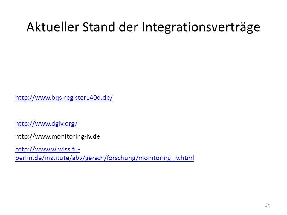 Aktueller Stand der Integrationsverträge http://www.bqs-register140d.de/ http://www.dgiv.org/ http://www.monitoring-iv.de http://www.wiwiss.fu- berlin.de/institute/abv/gersch/forschung/monitoring_iv.html 34