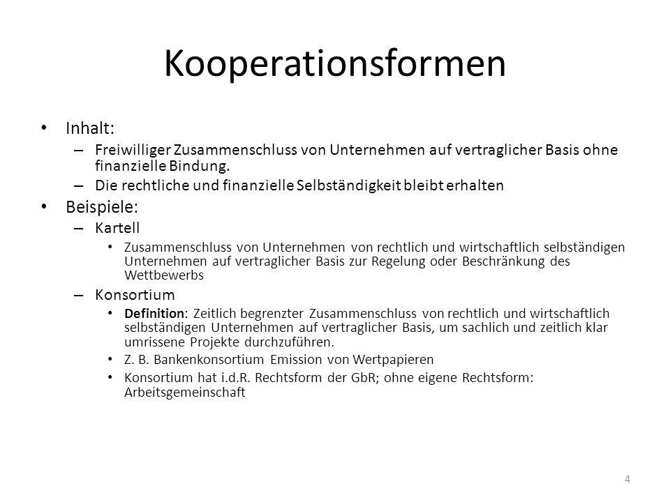 Kooperationsformen Inhalt: – Freiwilliger Zusammenschluss von Unternehmen auf vertraglicher Basis ohne finanzielle Bindung. – Die rechtliche und finan