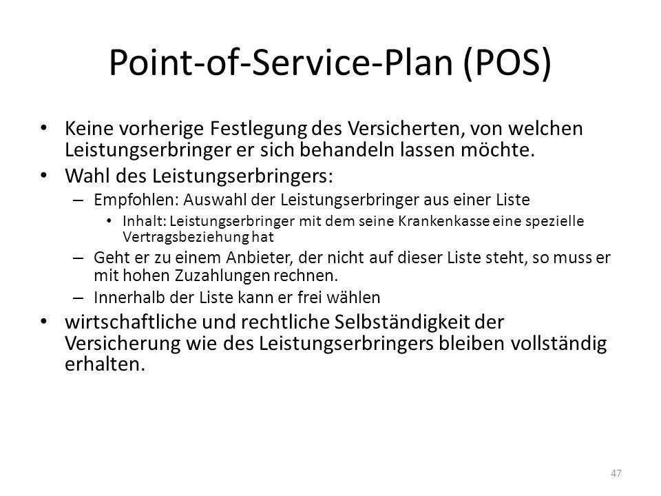 Point-of-Service-Plan (POS) Keine vorherige Festlegung des Versicherten, von welchen Leistungserbringer er sich behandeln lassen möchte. Wahl des Leis