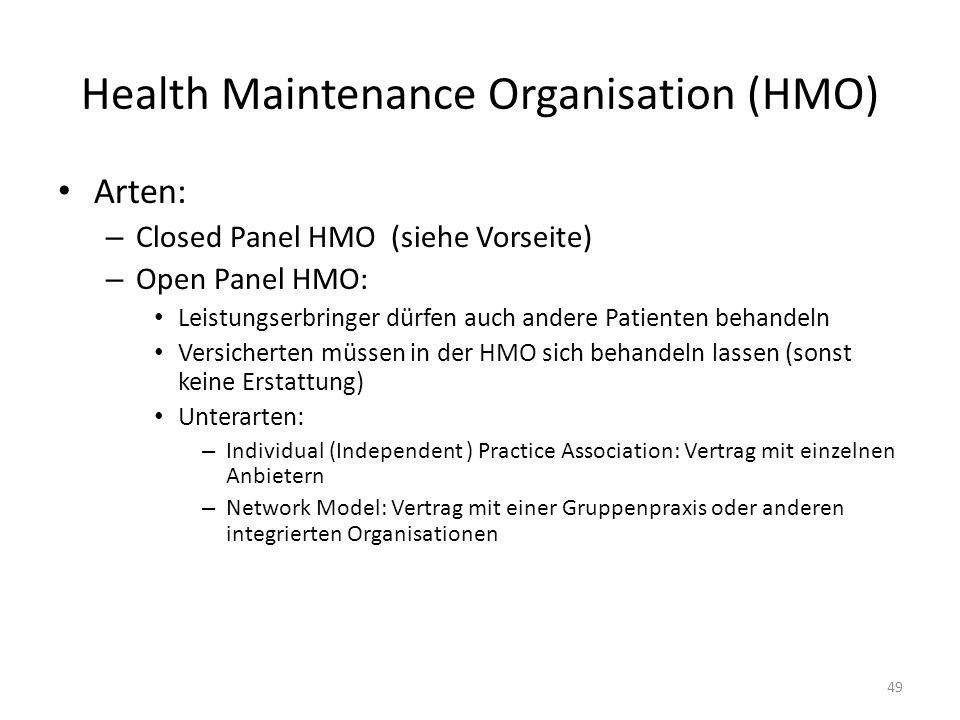 Health Maintenance Organisation (HMO) Arten: – Closed Panel HMO (siehe Vorseite) – Open Panel HMO: Leistungserbringer dürfen auch andere Patienten beh