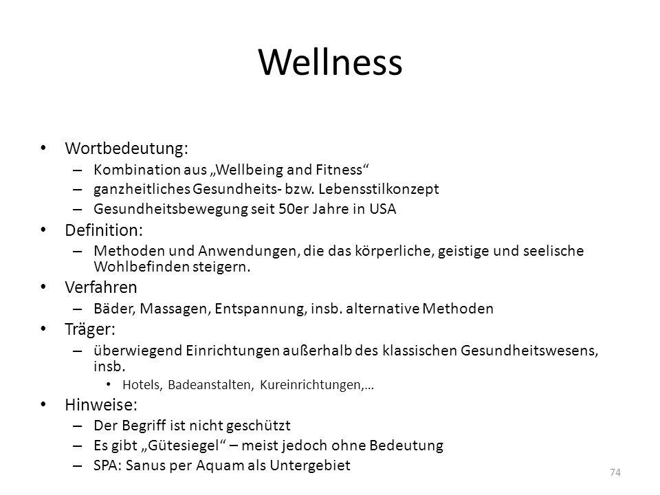 Wellness Wortbedeutung: – Kombination aus Wellbeing and Fitness – ganzheitliches Gesundheits- bzw. Lebensstilkonzept – Gesundheitsbewegung seit 50er J