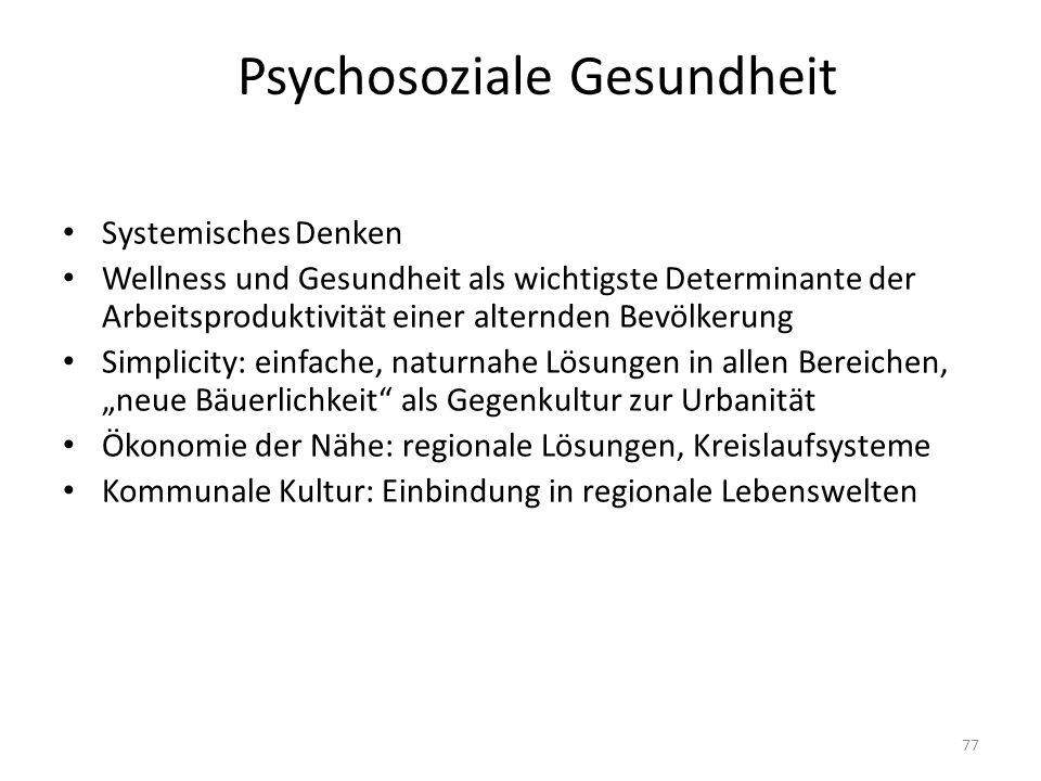 Psychosoziale Gesundheit Systemisches Denken Wellness und Gesundheit als wichtigste Determinante der Arbeitsproduktivität einer alternden Bevölkerung