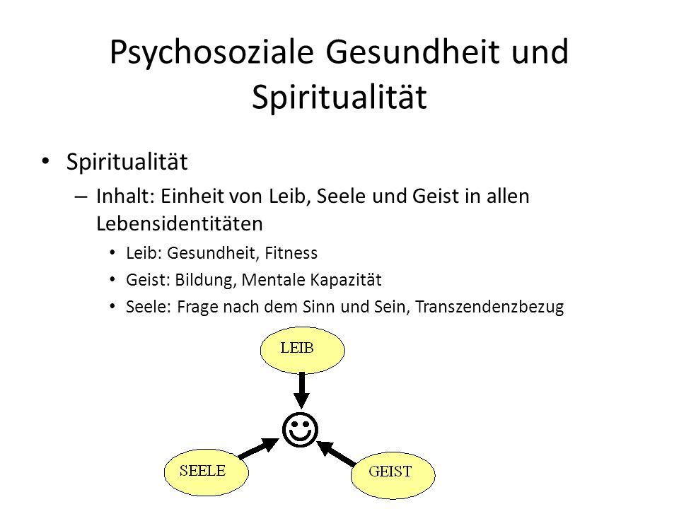 Psychosoziale Gesundheit und Spiritualität Spiritualität – Inhalt: Einheit von Leib, Seele und Geist in allen Lebensidentitäten Leib: Gesundheit, Fitness Geist: Bildung, Mentale Kapazität Seele: Frage nach dem Sinn und Sein, Transzendenzbezug