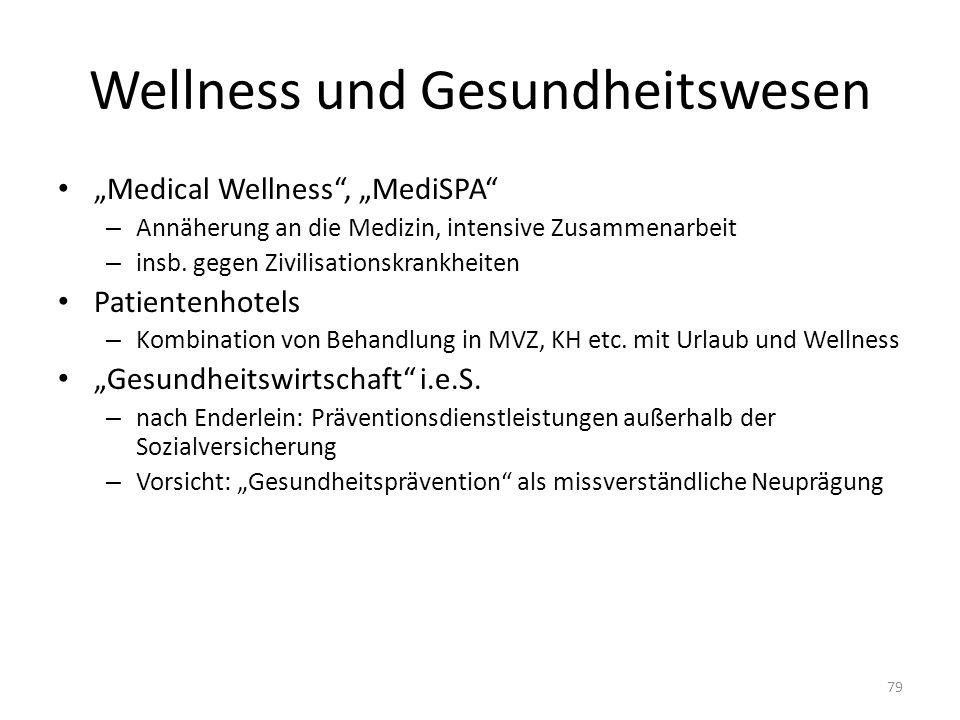 Wellness und Gesundheitswesen Medical Wellness, MediSPA – Annäherung an die Medizin, intensive Zusammenarbeit – insb.