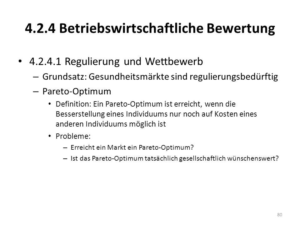 4.2.4 Betriebswirtschaftliche Bewertung 4.2.4.1 Regulierung und Wettbewerb – Grundsatz: Gesundheitsmärkte sind regulierungsbedürftig – Pareto-Optimum