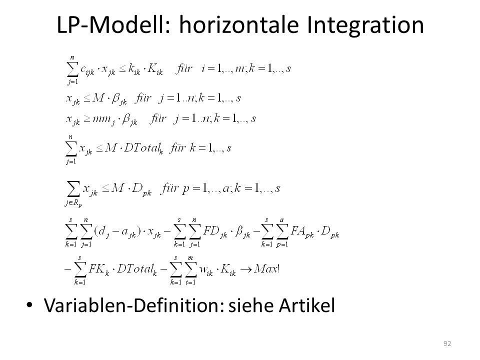 LP-Modell: horizontale Integration Variablen-Definition: siehe Artikel 92