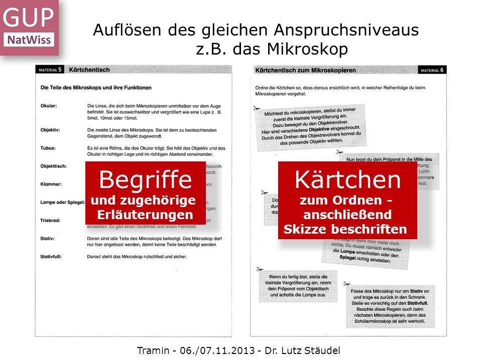 Auflösen des gleichen Anspruchsniveaus z.B. das Mikroskop Tramin - 06./07.11.2013 - Dr. Lutz Stäudel Begriffe und zugehörige Erläuterungen Kärtchen zu