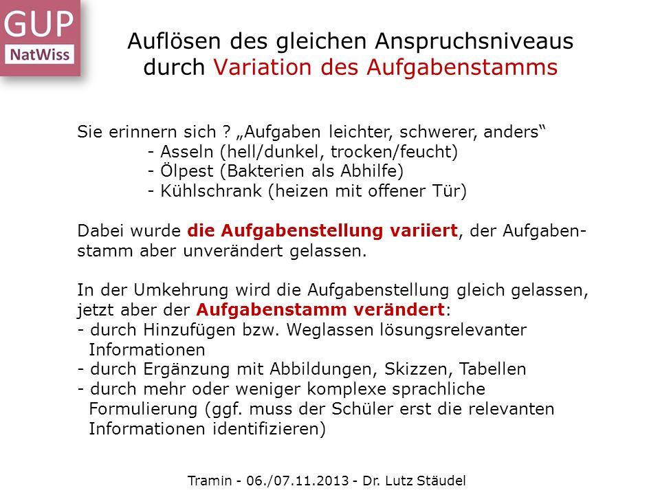Auflösen des gleichen Anspruchsniveaus durch Variation des Aufgabenstamms Tramin - 06./07.11.2013 - Dr. Lutz Stäudel Sie erinnern sich ? Aufgaben leic