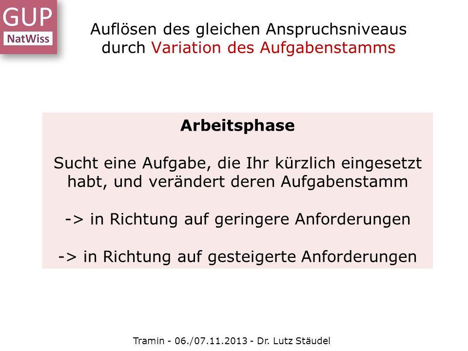 Auflösen des gleichen Anspruchsniveaus durch Variation des Aufgabenstamms Tramin - 06./07.11.2013 - Dr. Lutz Stäudel Arbeitsphase Sucht eine Aufgabe,