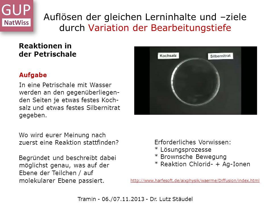 Auflösen der gleichen Lerninhalte und –ziele durch Variation der Bearbeitungstiefe Tramin - 06./07.11.2013 - Dr. Lutz Stäudel Reaktionen in der Petris