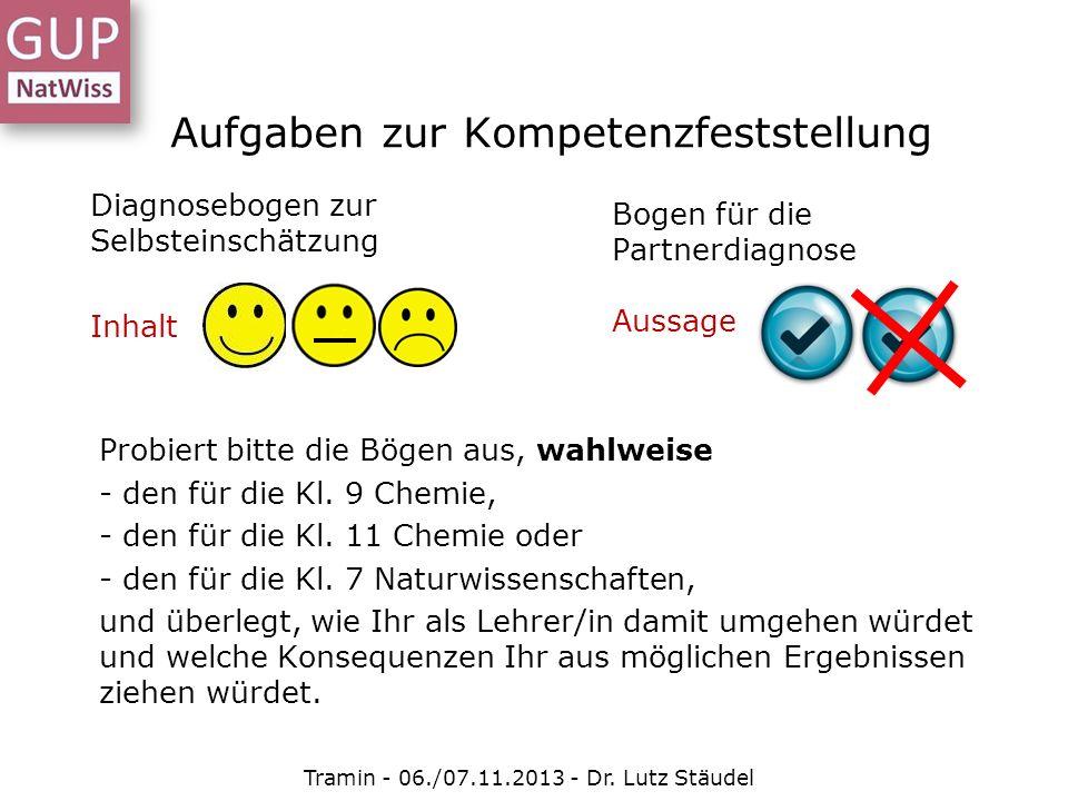 Aufgaben zur Kompetenzfeststellung Tramin - 06./07.11.2013 - Dr. Lutz Stäudel Diagnosebogen zur Selbsteinschätzung Inhalt Bogen für die Partnerdiagnos