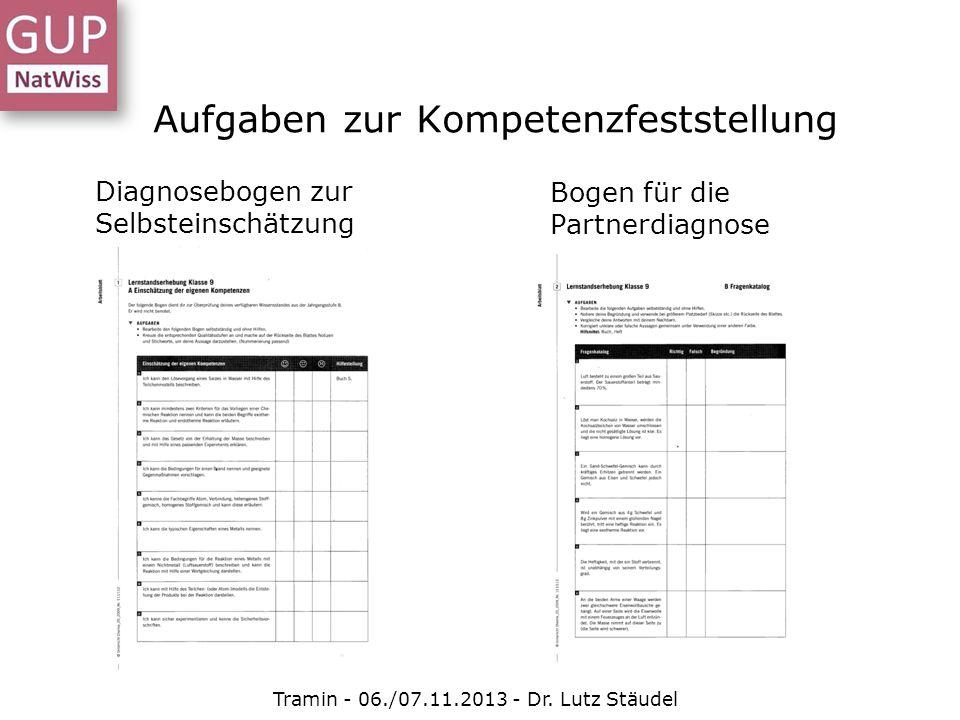 Aufgaben zur Kompetenzfeststellung Tramin - 06./07.11.2013 - Dr. Lutz Stäudel Diagnosebogen zur Selbsteinschätzung Bogen für die Partnerdiagnose