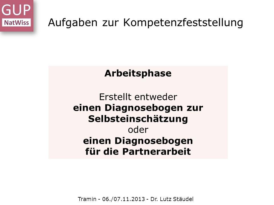 Aufgaben zur Kompetenzfeststellung Tramin - 06./07.11.2013 - Dr. Lutz Stäudel Arbeitsphase Erstellt entweder einen Diagnosebogen zur Selbsteinschätzun